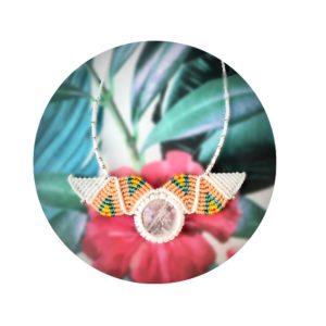 cristal de roche collier quartz cristal de roche micro macramé micro-macramé bijou lithothérapie reiki purification et rechargement création fait main artisanal noellia chami