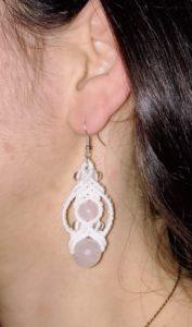 Rosalia boulcles d'oreilles quartz rose