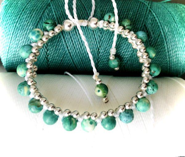 bracelet turquoise bijou micro-macramé lithothérapie