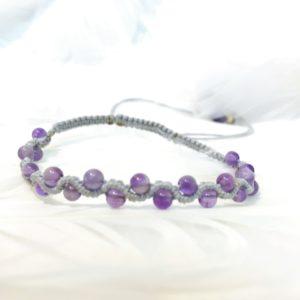 Bracelet améthyste micromacramé fin petite perles