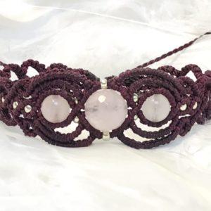 Bracelet quartz rose dentelle de micro macramé énergie amour de soi et des autres