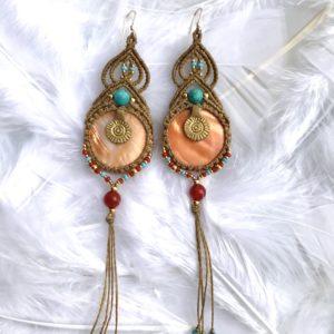 boucles d'oreilles cornaline turquoise styles indiennes en macramé micromacramé micro-macramé