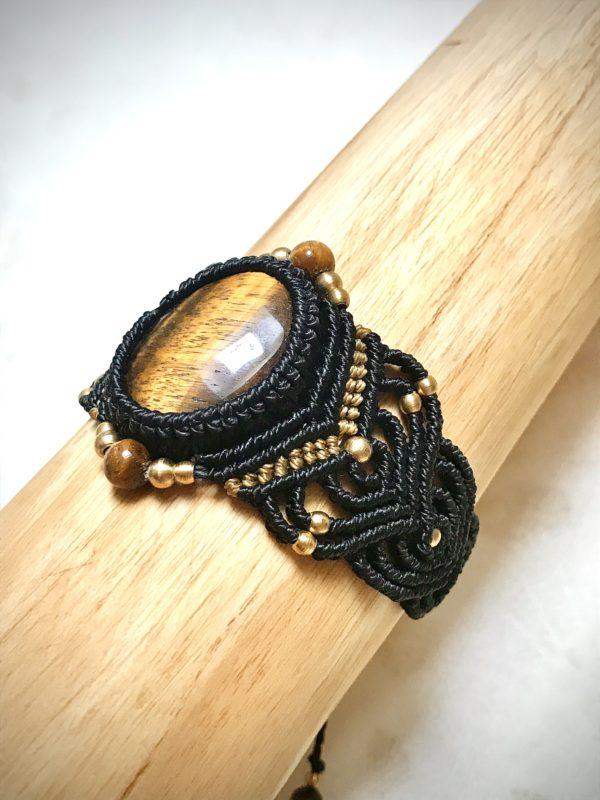Bracelet oeil de tigne micro macramé manchette protection énergétique